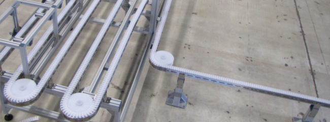 Stainless steel chain conveyor system for food production
