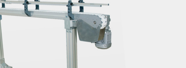 End drive unit for chain conveyor systems from modular automation