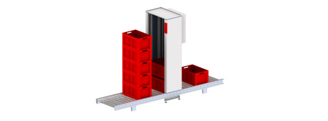 Container stackers from modular automation create a buffer in production and save space