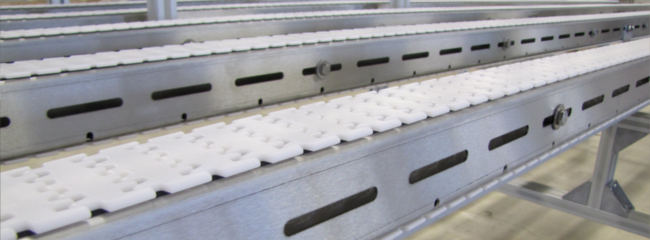 Stainless steel chain conveyors for the pharmaceutical industry