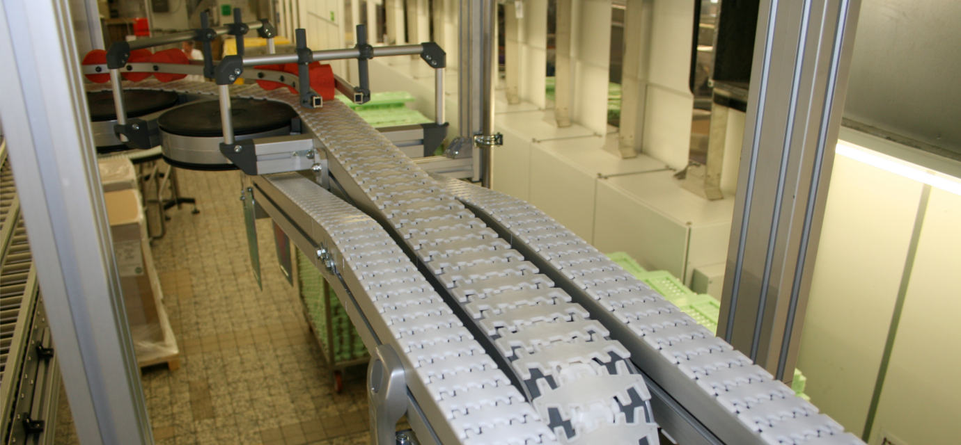Aluminium chain conveyor systems from modular automation