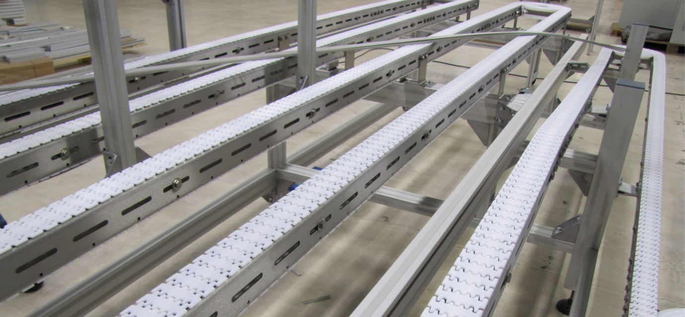 Stainless steel chain conveyor system lane